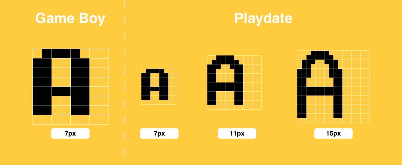 Playdate Font Sizes to Scale Against Game Boy
